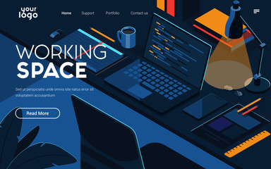 Landing page template of Working Space. Modern isometric design concept of web page design for website and mobile website. Easy to edit and customize. Vector illustration