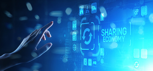 Wall Mural - Sharing economy, innovation and future business technology concept on virtual screen.