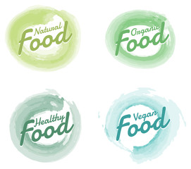 Wall Mural - Set of organic food hand drawn badges on white background.