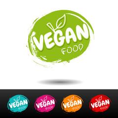 Wall Mural - Set of vegan food badges on white background.
