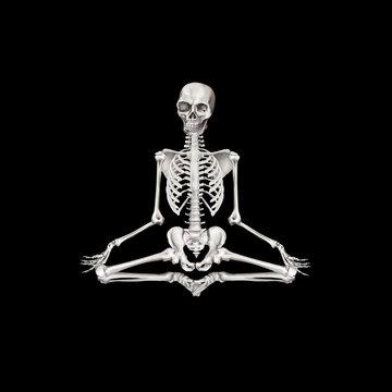 Human skeleton in Lotus pose. Halloween clip art on black background