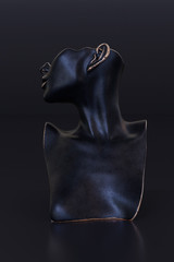 Elegant Mannequin earring Jewelry necklace display stand. Bust female model show decorate kit. Jewelry showcase black background. 3d rendering.