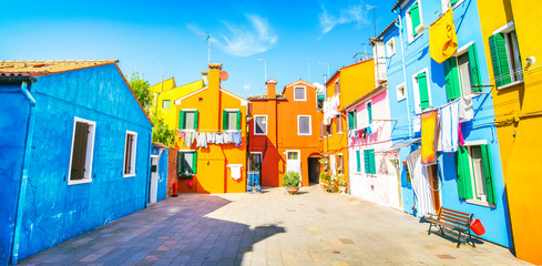 Fotomurales - Colorful houses on Burano island, Venice, Italy