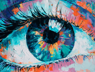 """Obraz """"Fluorite"""" - oil painting. Conceptual abstract picture of the eye. Oil painting in colorful colors. Conceptual abstract closeup of an oil painting and palette knife on canvas. - fototapety do salonu"""