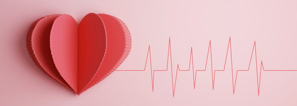 Heart with electrocardiogram test in the background. Health concept. 3d rendering.