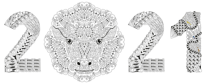 Zentangle stylized number 2021 with mandala and bull head. Hand Drawn lace vector illustration for coloring