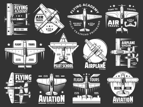 Aviation school and academy icons, aircraft and airplane, pilots and flight aviators vector retro badges. Air travel and flight training school, civil and military aviation propeller airplane show