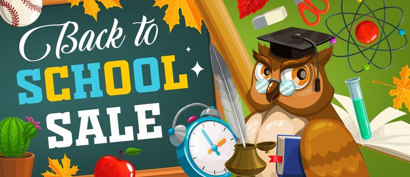 Back to school sale vector poster with smart owl teacher in academic cap holding book front of green chalkboard with school supplies. Alarm clock, apple, autumn tree leaf and inkwell with feather pen
