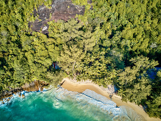 Wall Mural - Beach at Seychelles aerial top view
