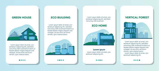 Ecology mobile application banner set. Eco-friendly house building Wall mural