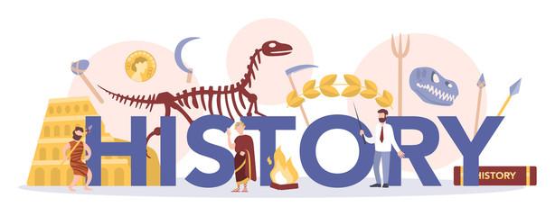 Fototapeta History typographic header concept. History school subject. obraz