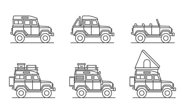 6 Britische 4 x 4 Off Road Allradgeländewagen als Icons