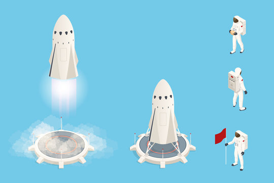 Isometric set elements of space rocket or shuttle. Rocket takes off .