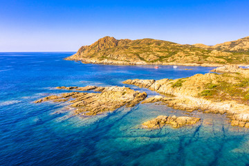 Wall Mural - Aerial view of Corsican rocky coast