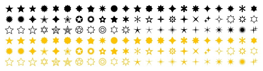 Stars set of 132 black and yellow icons. Rating Star icon. Star vector collection. Modern simple stars. Vector illustration.
