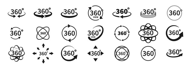 360 degree views of vector circle icons set isolated from the background. Signs with arrows to indicate the rotation or panoramas to 360 degrees. Vector illustration.