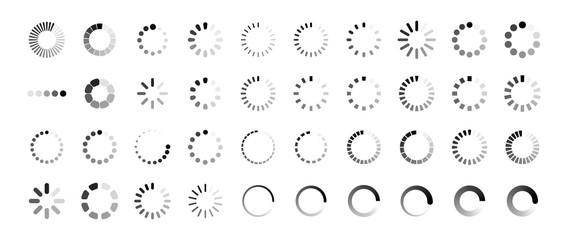 Wall Mural - Loading icon set. Buffer loader or preloader. Donload or Upload. Collection of simple web download. Vector illustration.