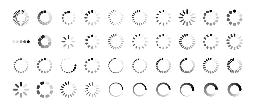 Loading icon set. Buffer loader or preloader. Donload or Upload. Collection of simple web download. Vector illustration.