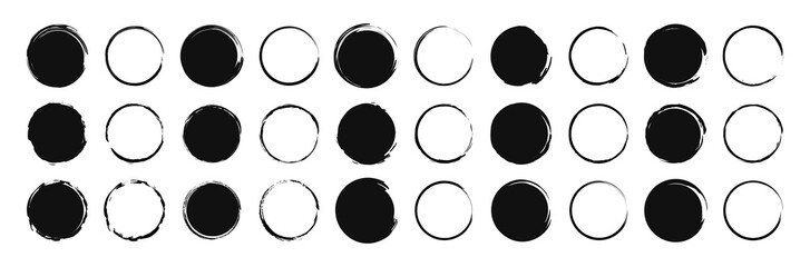 Set of 30 Hand drawn circle. Drawning circle. Scribble doodle. Brush circle. Vector illustration.