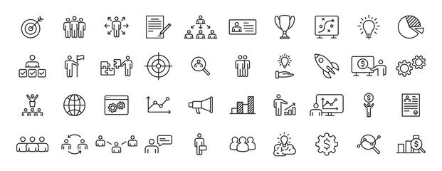 Set of 40 Headhunting web icons in line style. Skills, work, professional, employment, management, teamwork. Vector illustration.