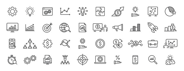 Obraz Set of 40 Data Proceassing web icons in line style. Graphic, analytics, statistic, network, diagrams, digital. Vector illustration. - fototapety do salonu