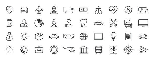 Set of 40 Insurance web icons in line style. Business, health, policy, tornado, flood, help. Vector illustration.