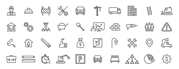 Obraz Set of 40 Construction web icons in line style. Building, engineer, business, road, builder, industry. Vector illustration. - fototapety do salonu
