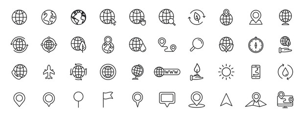 Wall Mural - Set of 40 Globe and earth planet web icons in line style. Navigational Equipment, Planet Earth, Airplane, Map. Vector illustration.