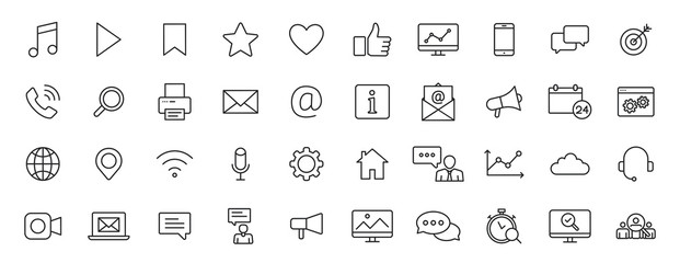 Set of 40 Social Media web icons in line style. Contact, digital, social networks, technology, website. Vector illustration.