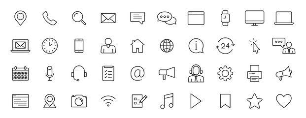 Set of 40 Contact Us web icons in line style. Web and mobile icon. Chat, support, message, phone. Vector illustration.