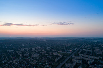 Stores à enrouleur Europe de l Est Sunset or dawn over a city in eastern Europe aerial view
