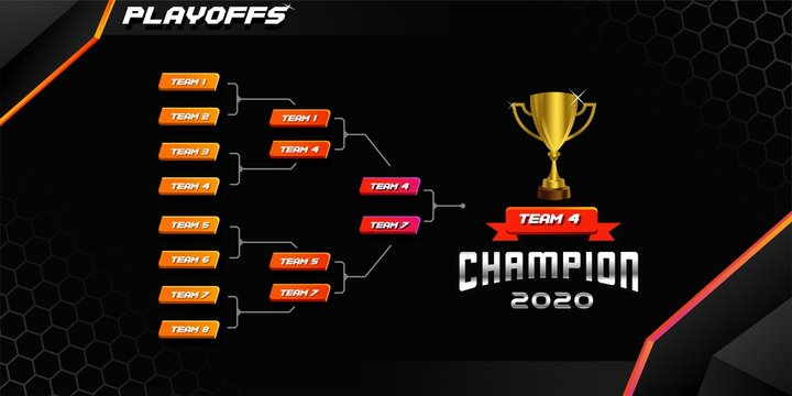 modern sport game tournament championship contest bracket board vector with gold champion trophy prize icon illustration background in tech theme style layout.