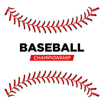 Baseball lace ball illustration isolated symbol. Championship baseball background sport design concept. Vector illustration eps 10
