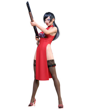 3D japanese warrior amazon woman render.