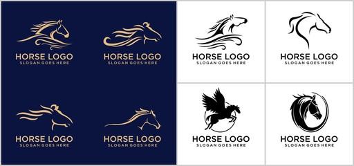 Fototapeta Horse logo concept design template