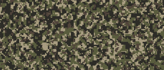 Brown, green and black Pixel Camouflage. Khaki Digital Camo background, military pattern, army and sport clothing, urban fashion. Vector Format. 21:9 aspect ratio.