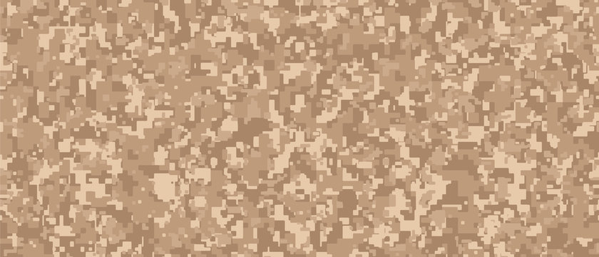 Light brown Pixel Camouflage. Desert Digital Camo background, military pattern, army and sport clothing, urban fashion. Vector Format. 21:9 aspect ratio.