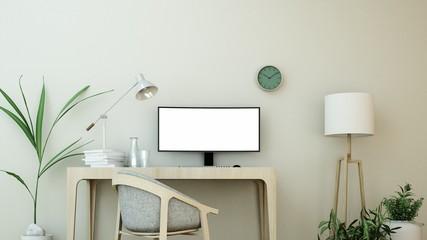 Wall Mural - The interior minimal work space 3d rendering