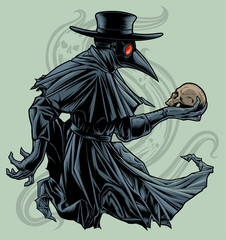Plague doctor with skull