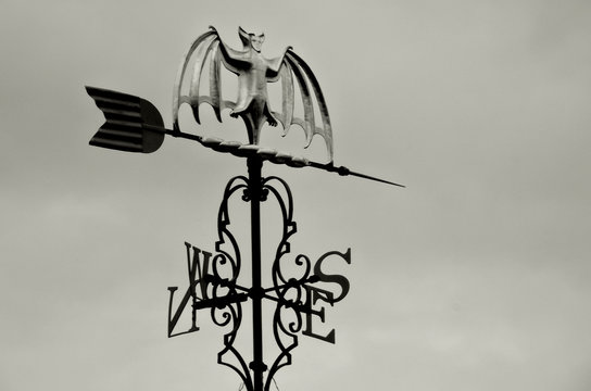 Low Angle View Of Weather Vane Against Cloudy Sky At Dusk