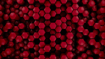 Wall Mural - red glossy hexagon modern background, 3d render illustration