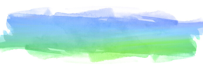 Blue-green watercolor stain on white background