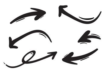 Hand drawn arrows set. Vector doodle icon.