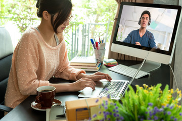 Asian woman learning online course, life style during pandemic of student or college student