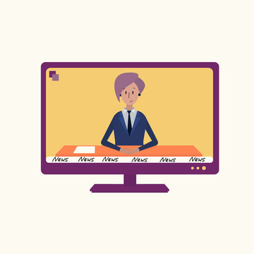 The TV shows the news. Vector illustration of a news anchor with pink hair sitting at a table and leading a program. Purple TV on a light background. News anchor in a blue suit at the table