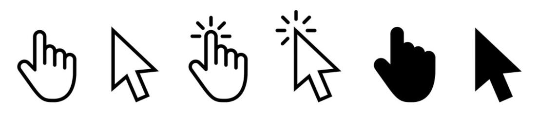 Computer mouse click cursor gray arrow icons set and loading icons. Cursor icon. Vector illustration. Mouse click cursor collection. Fotobehang