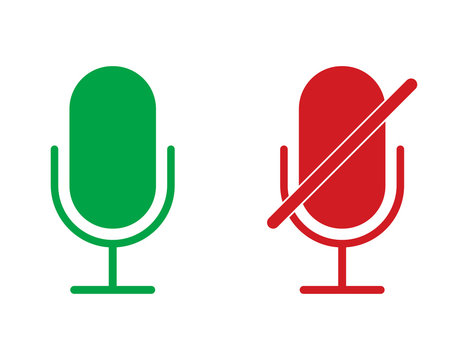Radio microphone icons in red and green colors. Isolated record equipment. Sound mic for karaoke. Broadcast voice symbol. Retro microphone with mute icon. Voice recorder. Vector EPS 10.