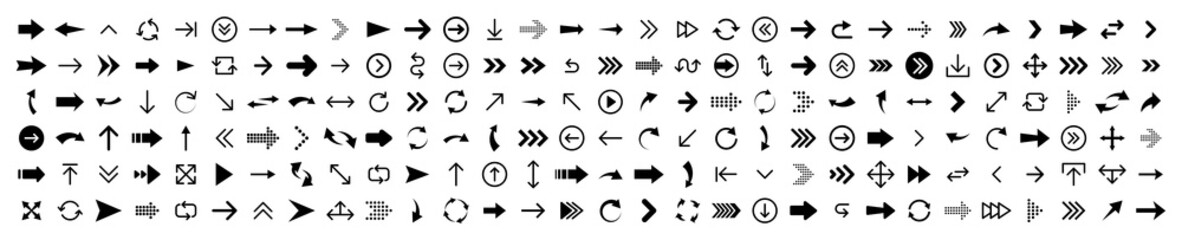 Wall Mural - Arrows big black set 180 icons. Arrow icon. Arrow vector collection. Arrow. Cursor. Modern simple arrows. Vector illustration.
