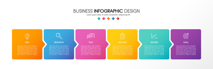 Business infographic template with 6 elements. 3d diagram. Vector Fotomurales
