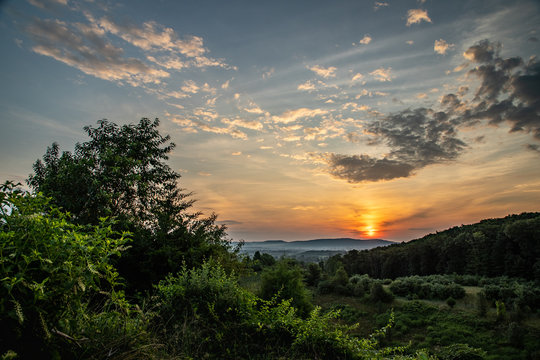 Sunrise over the hills near Reading, PA